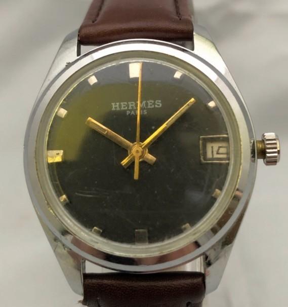 1円出品!送料無料!Hermes Paris エルメス アンティーク腕時計 手巻き date 日付  ビンテージ_画像2