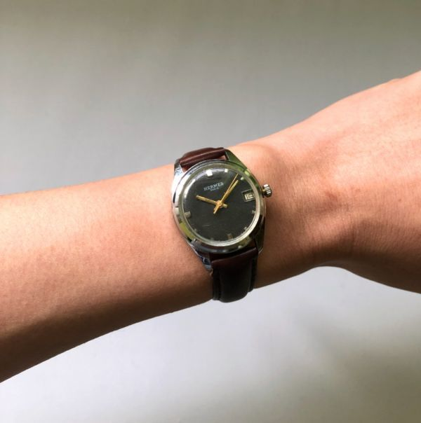1円出品!送料無料!Hermes Paris エルメス アンティーク腕時計 手巻き date 日付  ビンテージ_画像6