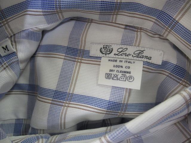 Loro Piana ロロピアーナ ドレスシャツ コットン チェック柄 青系 M 新品 ボタンダウン イタリア製 国内正規品 ビジネスシャツ Yシャツ_画像2