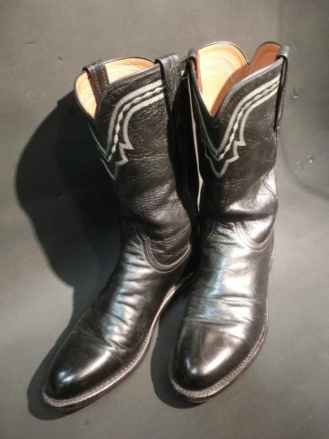 m149 最高級品 ルケーシー Lucchese メンズ ショート ウエスタンブーツ 黒 ブラックカラー 25.5cm US 8D
