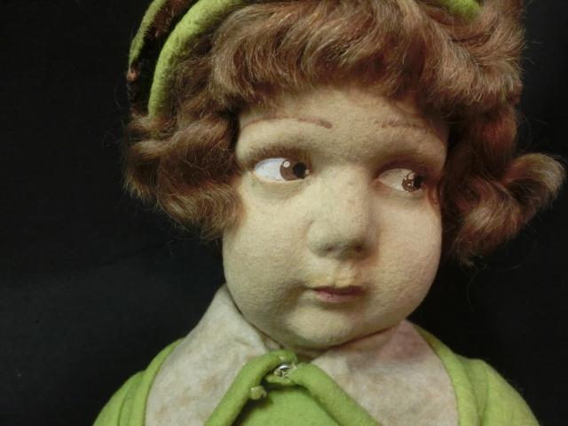 144 レンチドール Lenci フェルト製 ハンドメイド 女の子 グリーン ワンピース 高さ48cm