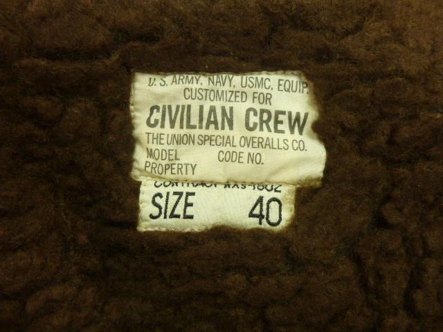 """FREEWHEELERS and COMPANY UNION SPECIAL OVERALLS1940s CIVILIAN MILITARY STYLE CLOTHING """"DECK JACKET""""n-1_画像3"""
