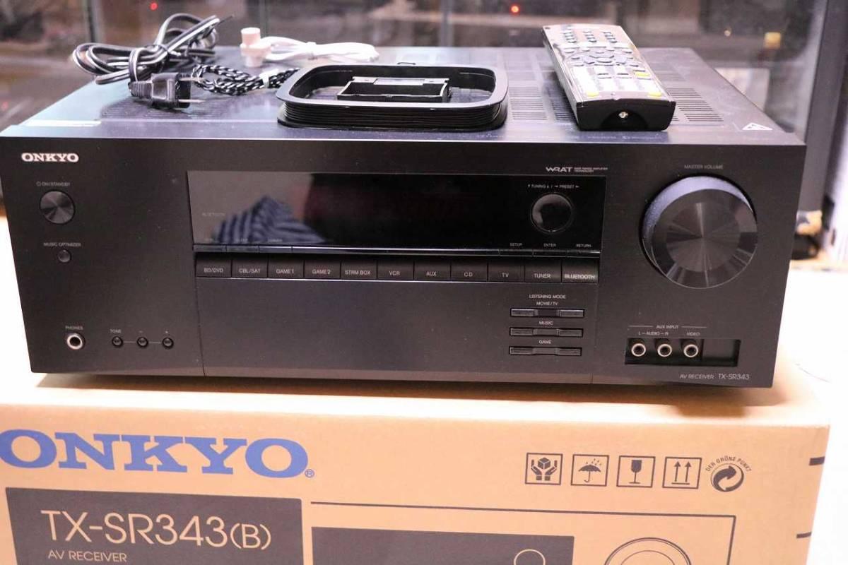 ONKYO AVレシーバー 5.1ch対応 ブラック TX-SR343(B) 元箱、緩衝材、付属品あり