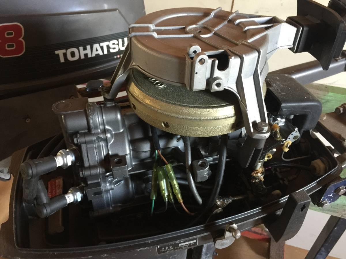 トーハツ TOHATSU 8馬力 2スト 船外機 リモコンセット 2サイクル エンジン関係綺麗 クランキングOK リモコン・ハンドル両方_画像6