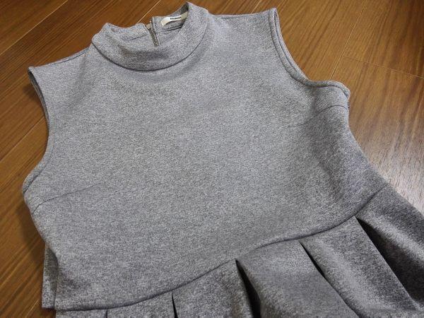 jjyk2-760 ■ MURUA ■ ムルーア ワンピース ミニ ハイネック カットソー ノースリーブ 袖なし グレー 2 M_画像8