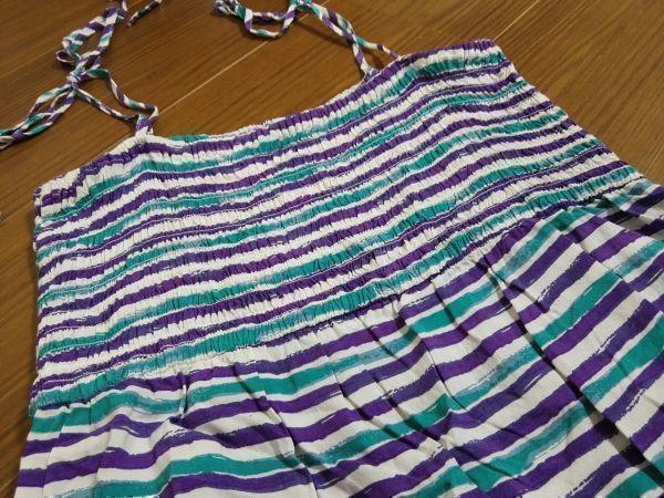 jjyk2-344 ■ ユニクロ ■ キャミソールワンピース ロング マキシ丈 手書き風ボーダー 緑×紫×白 M_画像8