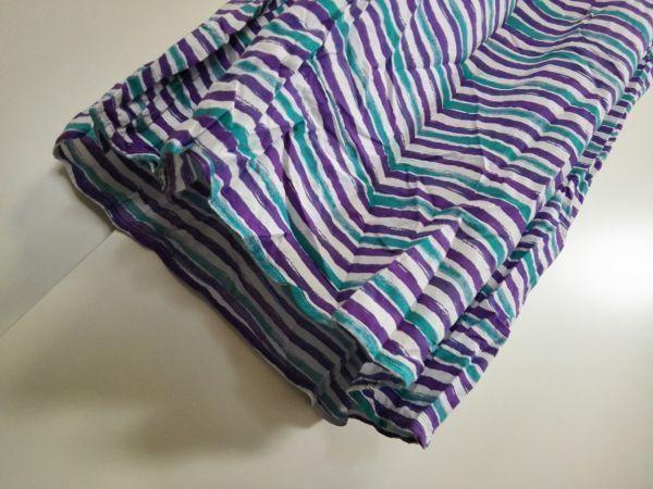 jjyk2-344 ■ ユニクロ ■ キャミソールワンピース ロング マキシ丈 手書き風ボーダー 緑×紫×白 M_画像6