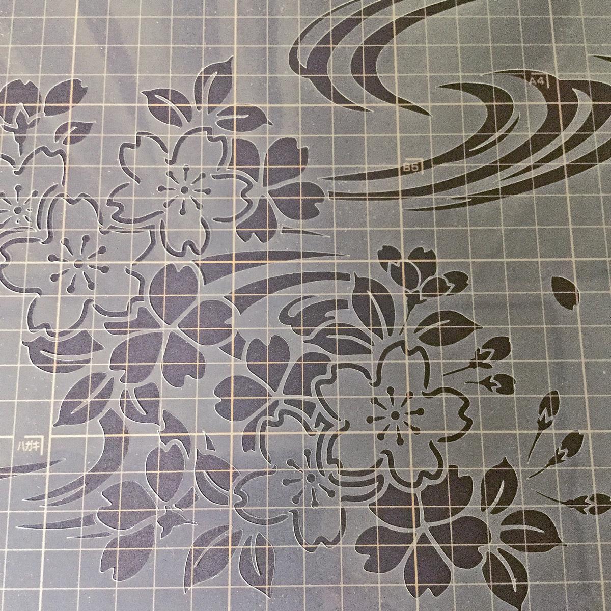 さくら4番 花 桜と流水 ステンシルシート 図案型紙 No554_画像5