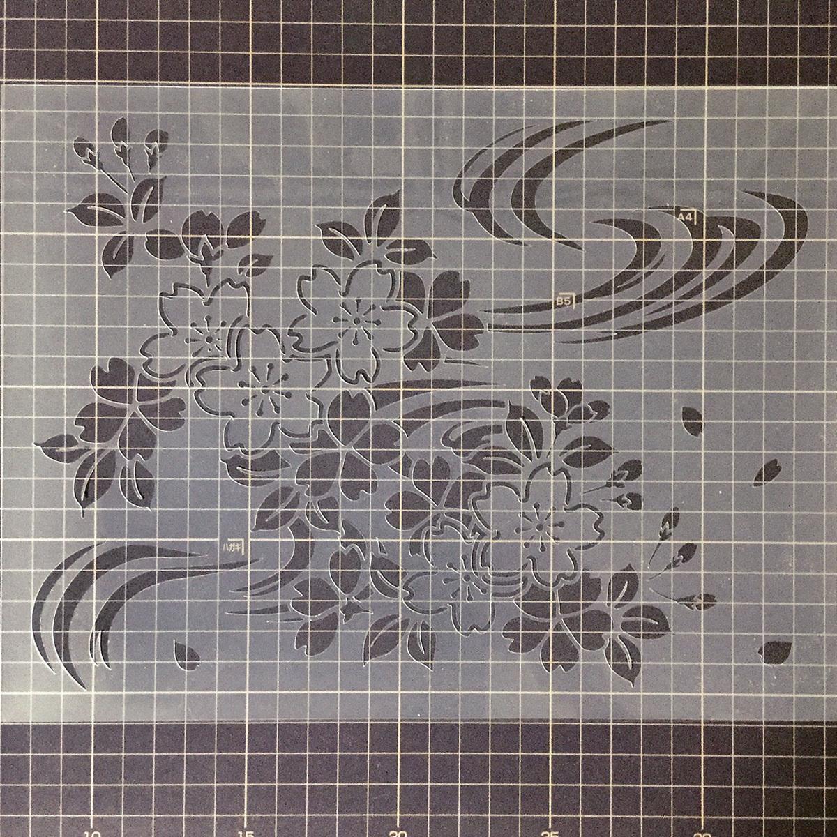 さくら4番 花 桜と流水 ステンシルシート 図案型紙 No554_画像4