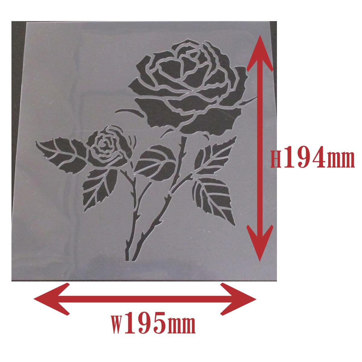 ヤフオク バラの花イラスト 薔薇4番 ステンシルシート