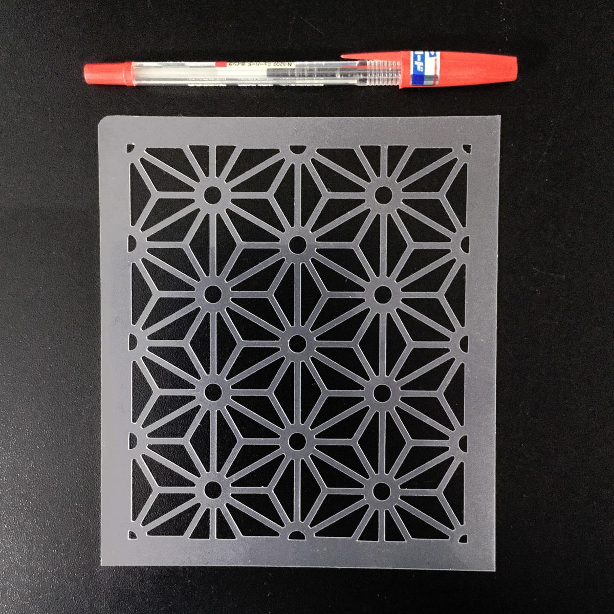 麻の葉模様A 和風地紋9番  ステンシルシート 型紙図案 NO239_画像4