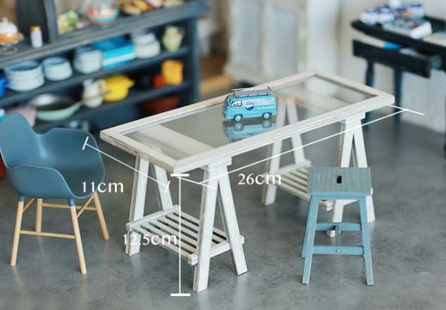 A LITTLE WORLD作家1/6ハンドメイドカスタムブライス/りかちゃん/momoko用ミニチュア家具アンティーク風組み立て式 長テーブル ホワイト白_画像2