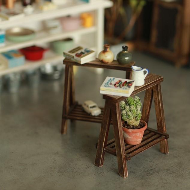 A LITTLE WORLD作家1/6ハンドメイドカスタムブライス/りかちゃん/momoko用ミニチュア家具アンティーク風組み立て式 長テーブル ホワイト白_画像9