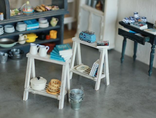 A LITTLE WORLD作家1/6ハンドメイドカスタムブライス/りかちゃん/momoko用ミニチュア家具アンティーク風組み立て式 長テーブル ホワイト白_画像3