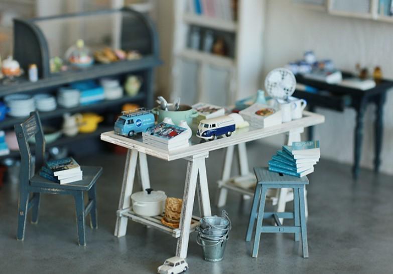 A LITTLE WORLD作家1/6ハンドメイドカスタムブライス/りかちゃん/momoko用ミニチュア家具アンティーク風組み立て式 長テーブル ホワイト白_画像1