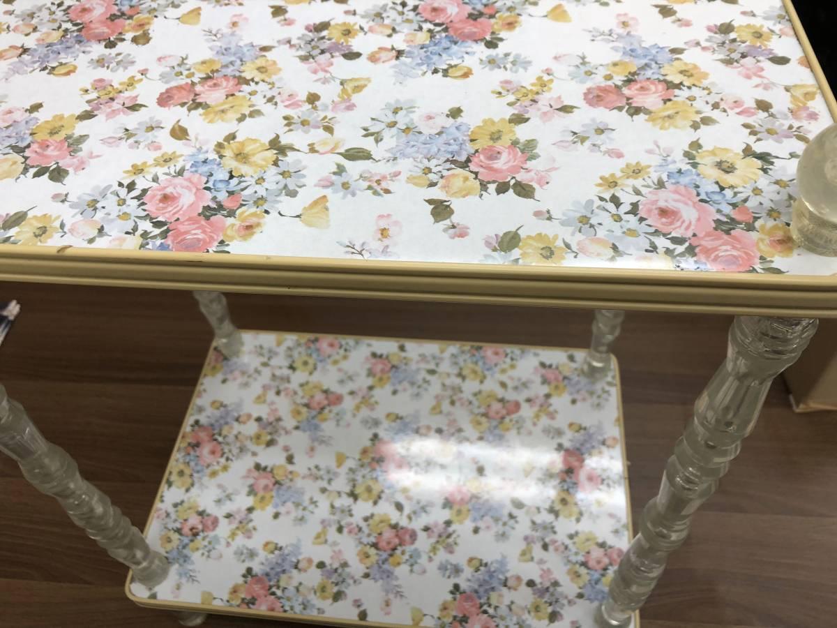 年代物 昭和レトロ ポップ 二段 キッチンワゴン 花台 飾り棚 サイドテーブル 花柄 白 ホワイト_画像2