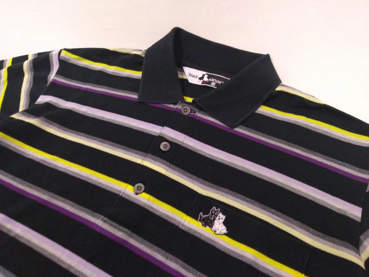 近年モデル 吸水速乾 極美品 BLACK&WHITE ボーダー 総柄 半袖ポロシャツ メンズM ブラック&ホワイト ゴルフウェア 国内正規品 190314_画像3