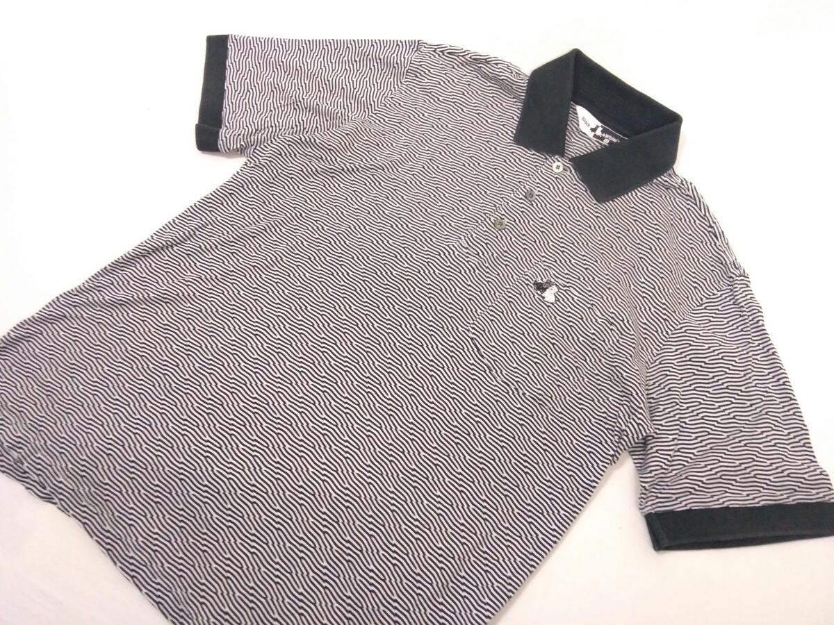 近年モデル 吸水速乾 極美品 BLACK&WHITE ボーダー 総柄 半袖ポロシャツ メンズM ブラック&ホワイト ゴルフウェア 国内正規品 190314_画像4