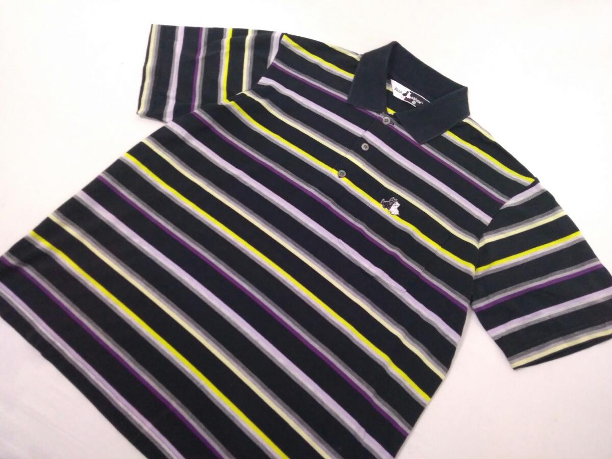 近年モデル 吸水速乾 極美品 BLACK&WHITE ボーダー 総柄 半袖ポロシャツ メンズM ブラック&ホワイト ゴルフウェア 国内正規品 190314_画像2