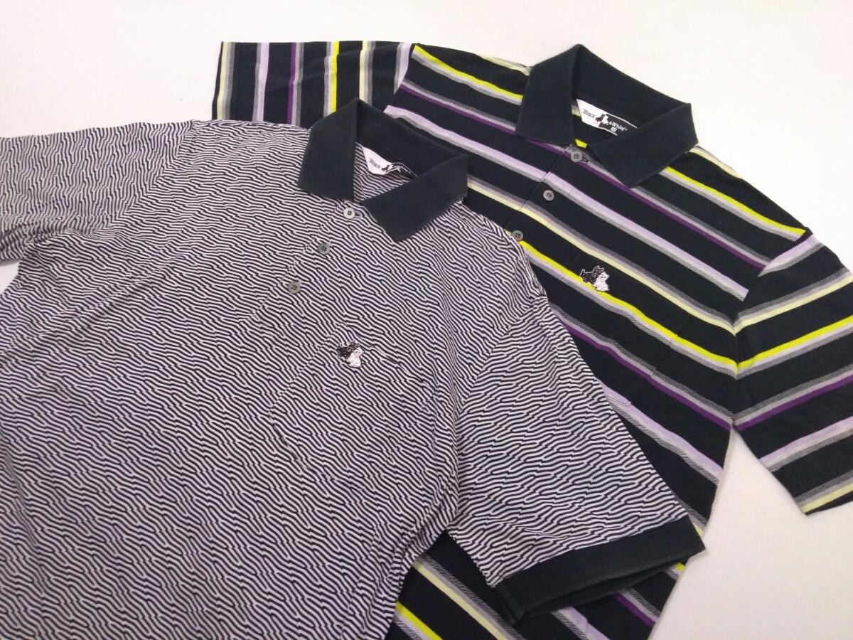 近年モデル 吸水速乾 極美品 BLACK&WHITE ボーダー 総柄 半袖ポロシャツ メンズM ブラック&ホワイト ゴルフウェア 国内正規品 190314