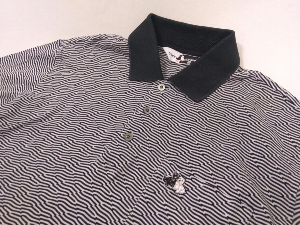 近年モデル 吸水速乾 極美品 BLACK&WHITE ボーダー 総柄 半袖ポロシャツ メンズM ブラック&ホワイト ゴルフウェア 国内正規品 190314_画像5