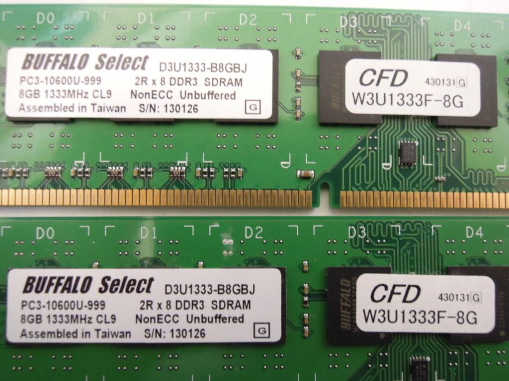 CFD BUFFALO SELECT W3U1333-B8GBJ PC3-10600 DDR3-1333 240pin 8GB 2枚 計16GB_画像2