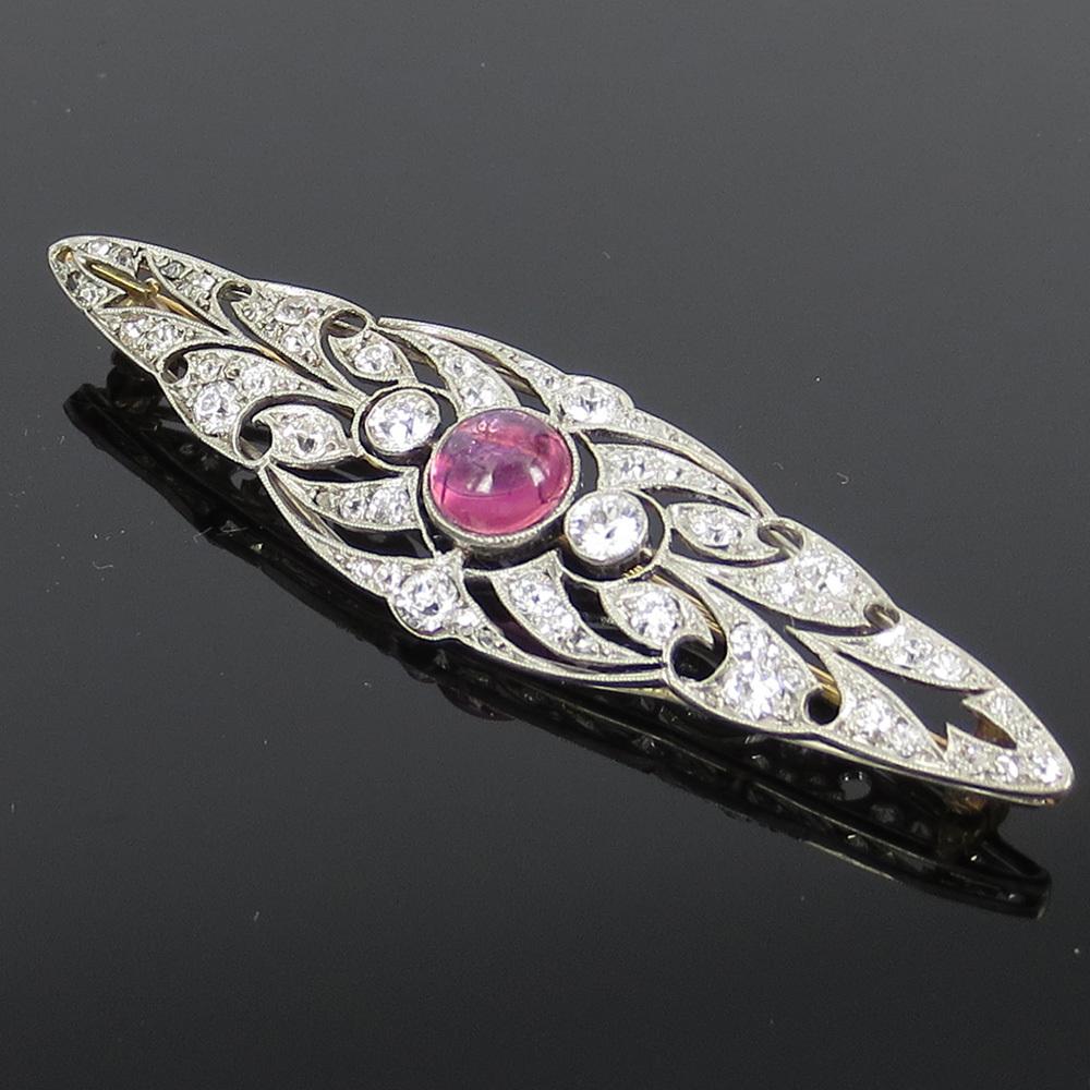◆アンティーク◆アートデコ《5.5ct ダイヤモンド&トルマリン》プラチナK18◆ブローチ_画像2