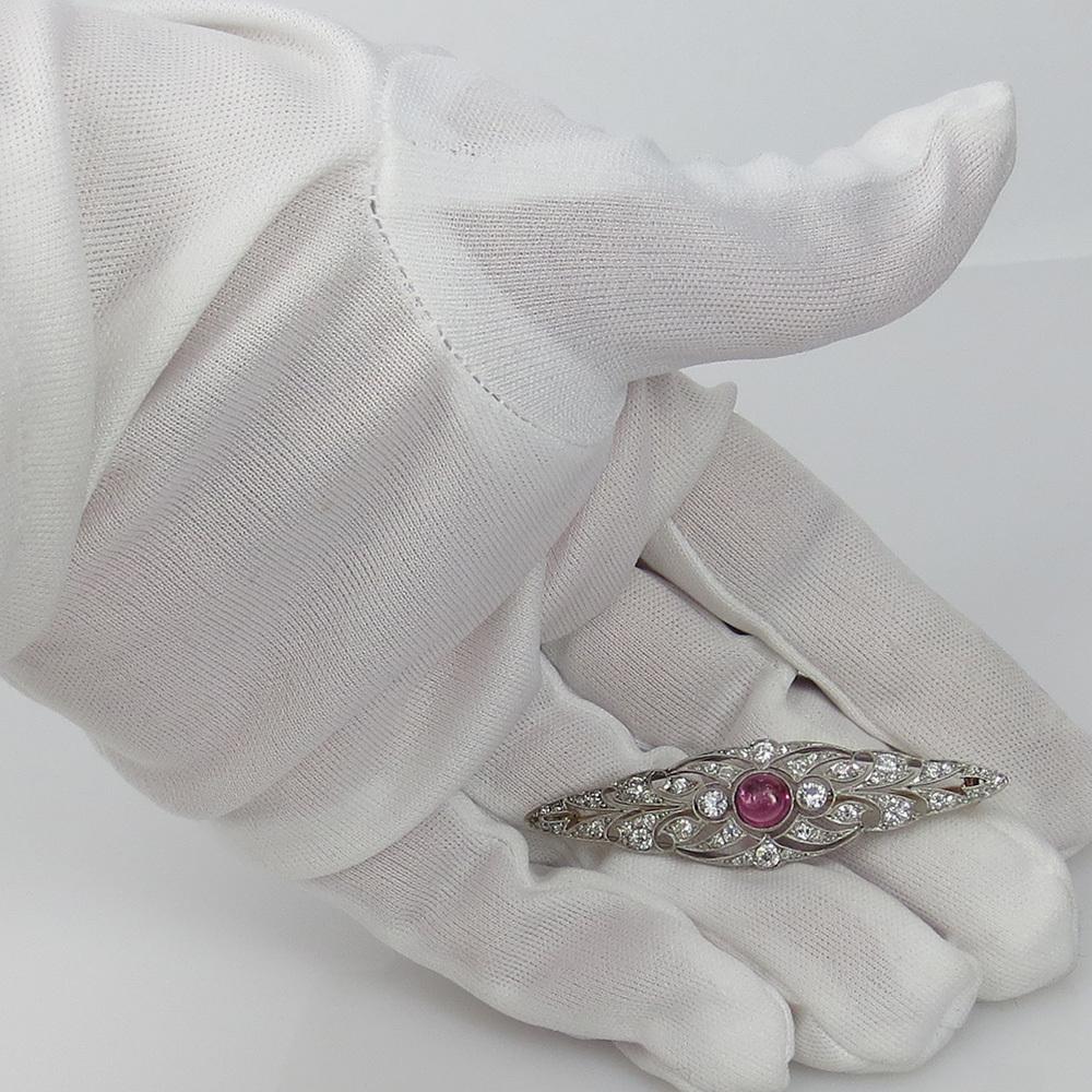 ◆アンティーク◆アートデコ《5.5ct ダイヤモンド&トルマリン》プラチナK18◆ブローチ_画像4