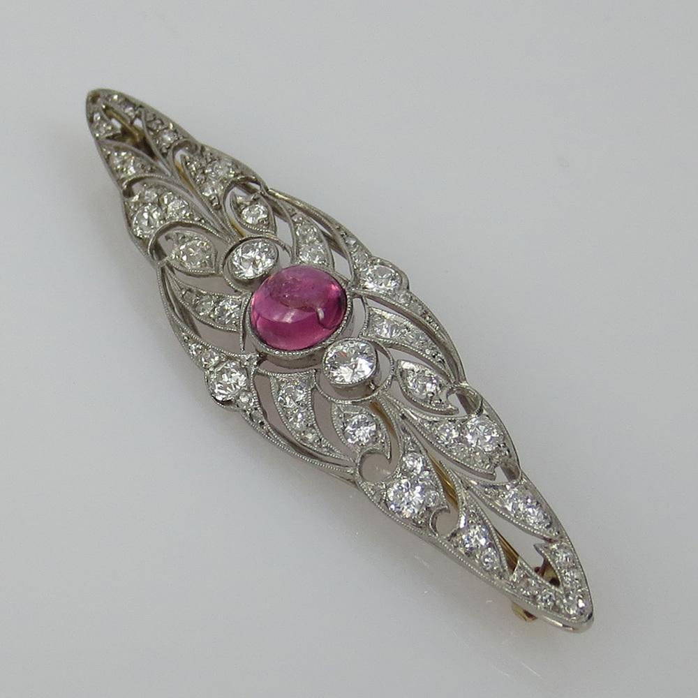 ◆アンティーク◆アートデコ《5.5ct ダイヤモンド&トルマリン》プラチナK18◆ブローチ_画像9