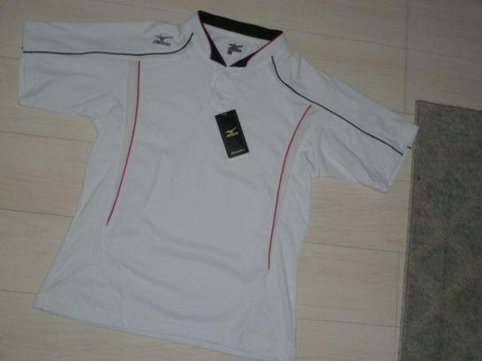 処分!新品ミズノ¥4000 Mizuno グローバルエリート ユニフォームシャツ ホワイトx襟ブラック サイズM