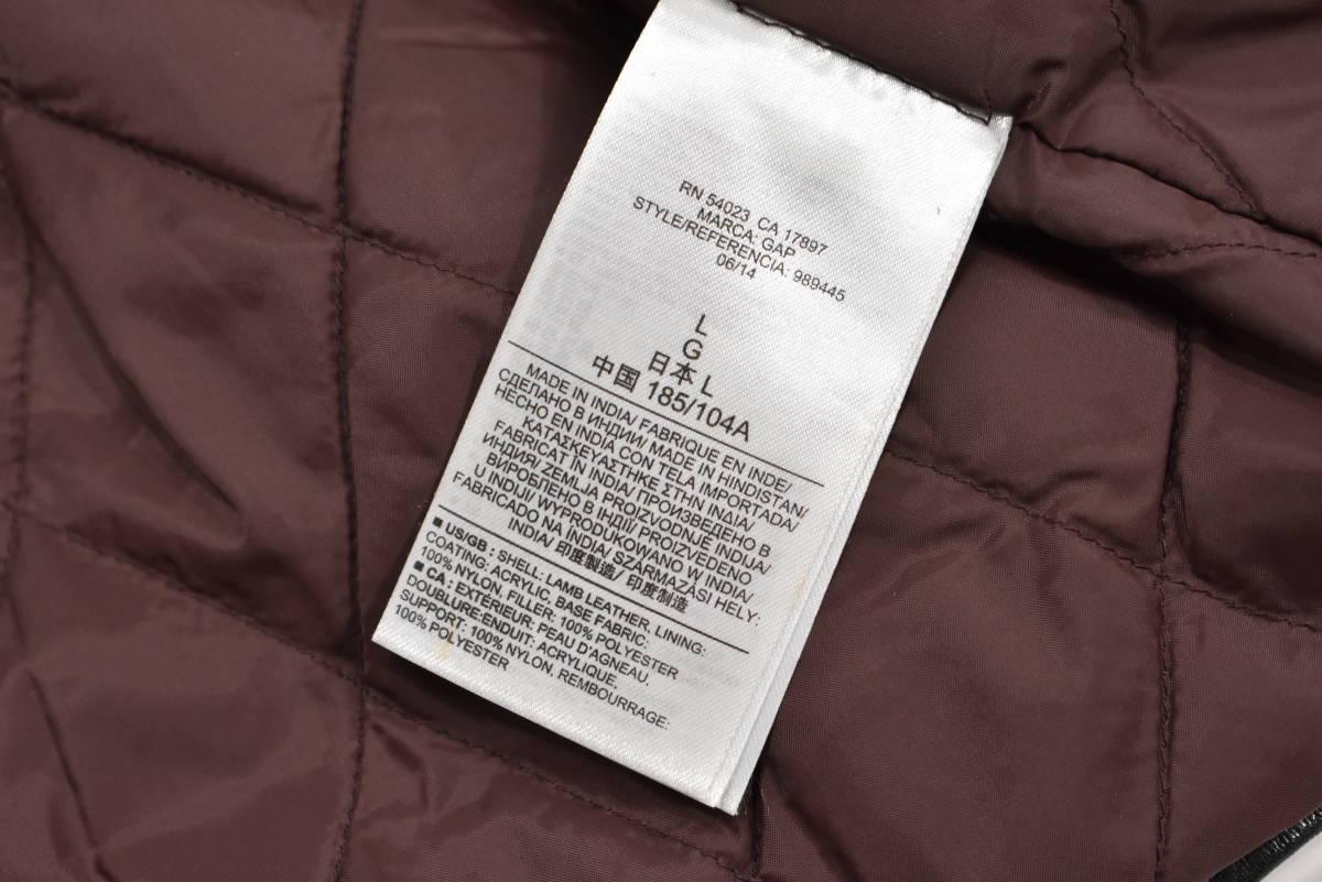 定価¥54,000 ギャップ GAP 羊革 ラムレザー バイカージャケット/ダブルライダース 中綿入り 黒/Lサイズ_画像9
