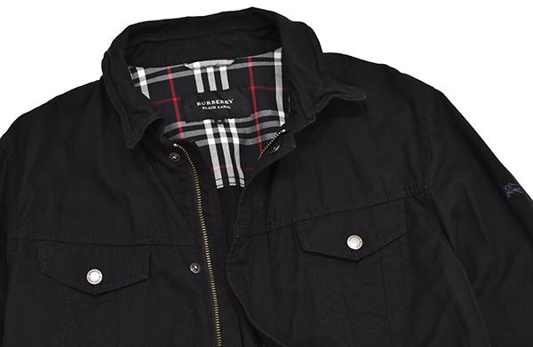 バーバリーブラックレーベル 【BURBERRY BLACK LABEL】 裏地チェック ジップコットンシャツジャケット/黒 Mサイズ_画像4