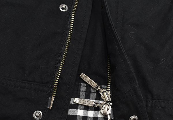 バーバリーブラックレーベル 【BURBERRY BLACK LABEL】 裏地チェック ジップコットンシャツジャケット/黒 Mサイズ_画像7