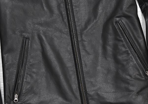 定価48,600円 ジェンナロ【GENNARO】牛革 バッファローレザー シングルライダースジャケット 黒 Mサイズ_画像5