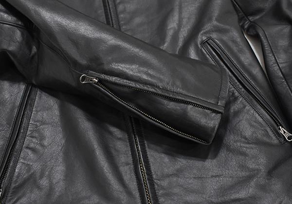 定価48,600円 ジェンナロ【GENNARO】牛革 バッファローレザー シングルライダースジャケット 黒 Mサイズ_画像6