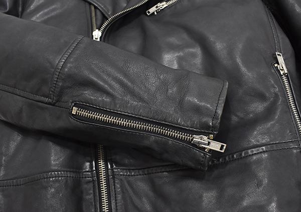定価¥54,000 ギャップ GAP 羊革 ラムレザー バイカージャケット/ダブルライダース 中綿入り 黒/Lサイズ_画像5