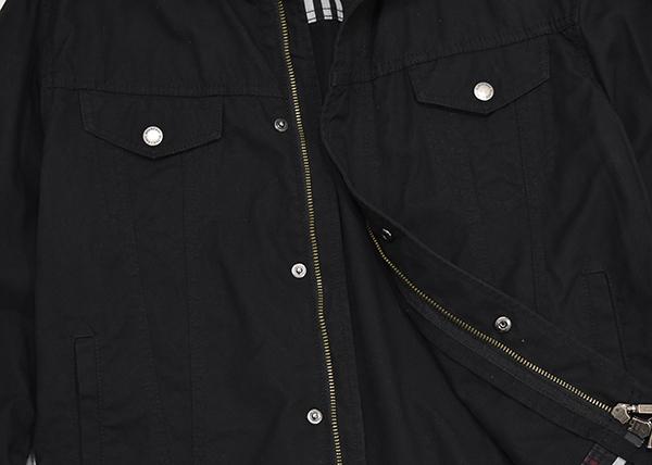 バーバリーブラックレーベル 【BURBERRY BLACK LABEL】 裏地チェック ジップコットンシャツジャケット/黒 Mサイズ_画像6