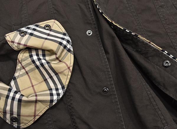 バーバリーブラックレーベル 【BURBERRY BLACK LABEL】 裏地チェック コットンシャツジャケット/茶 L_画像5