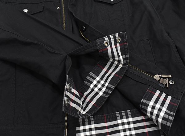 バーバリーブラックレーベル 【BURBERRY BLACK LABEL】 裏地チェック ジップコットンシャツジャケット/黒 Mサイズ_画像5