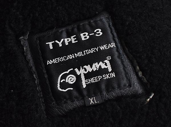 レア◎ 【young】 羊革 b-3 リアルムートン フライトジャケット B-3/黒_画像6