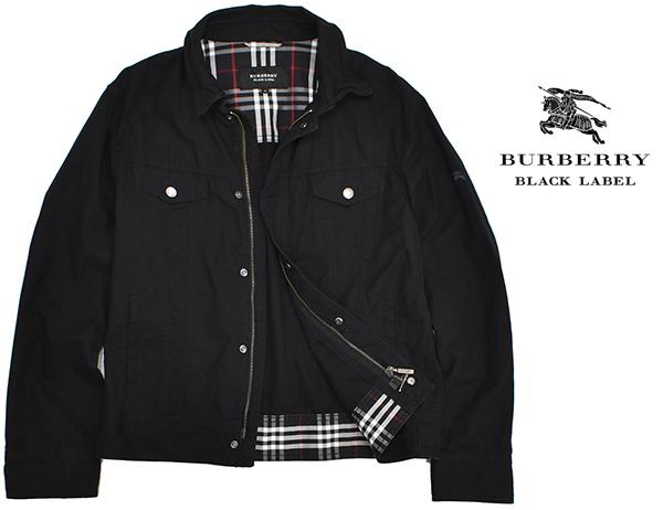 バーバリーブラックレーベル 【BURBERRY BLACK LABEL】 裏地チェック ジップコットンシャツジャケット/黒 Mサイズ