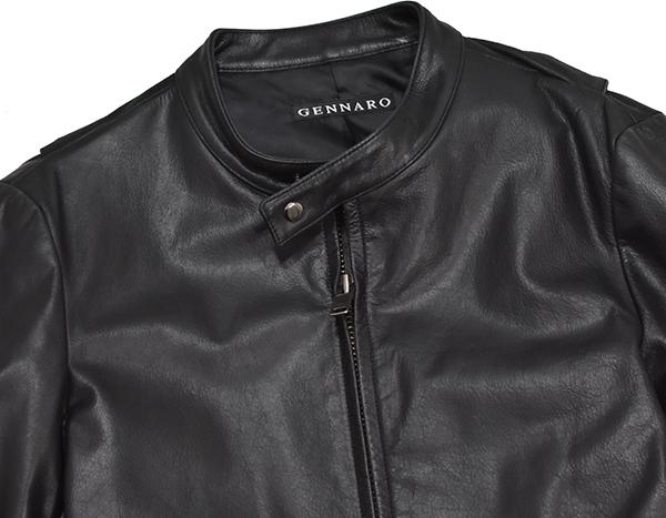 定価48,600円 ジェンナロ【GENNARO】牛革 バッファローレザー シングルライダースジャケット 黒 Mサイズ_画像4