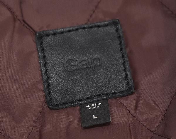定価¥54,000 ギャップ GAP 羊革 ラムレザー バイカージャケット/ダブルライダース 中綿入り 黒/Lサイズ_画像8