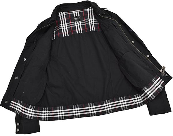 バーバリーブラックレーベル 【BURBERRY BLACK LABEL】 裏地チェック ジップコットンシャツジャケット/黒 Mサイズ_画像2