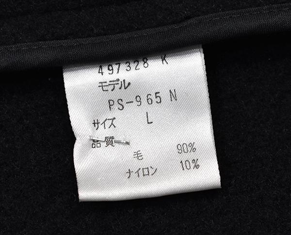 定価6万円 日本製 ポールスミス【Paul Smith LONDON】ソフトメルトンウール ダッフルコート/黒/L_画像5