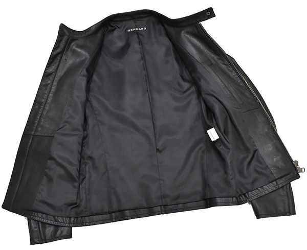 定価48,600円 ジェンナロ【GENNARO】牛革 バッファローレザー シングルライダースジャケット 黒 Mサイズ_画像3