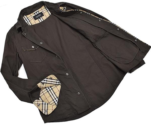 バーバリーブラックレーベル 【BURBERRY BLACK LABEL】 裏地チェック コットンシャツジャケット/茶 L_画像3