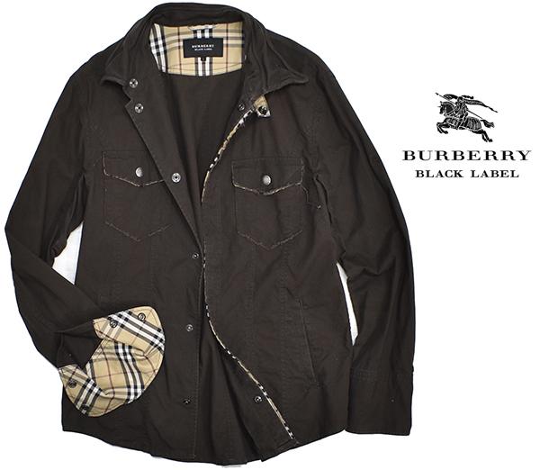 バーバリーブラックレーベル 【BURBERRY BLACK LABEL】 裏地チェック コットンシャツジャケット/茶 L