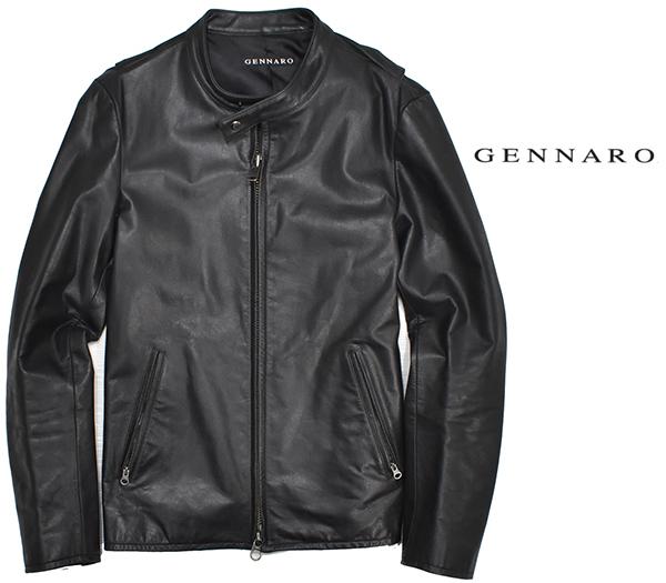 定価48,600円 ジェンナロ【GENNARO】牛革 バッファローレザー シングルライダースジャケット 黒 Mサイズ