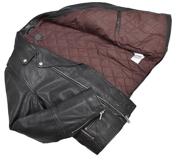 定価¥54,000 ギャップ GAP 羊革 ラムレザー バイカージャケット/ダブルライダース 中綿入り 黒/Lサイズ_画像2